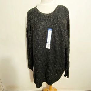 FALLS CREEK NWT cable knit crew neck sweater Black with metallic threads Size 3X
